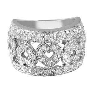 Sterling Silver Rhodium Plated CZ Heart Ring band